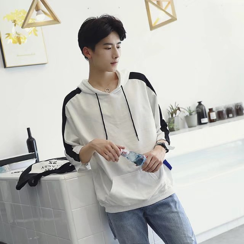 Mùa thu đội mũ trùm đầu ngắn tay T-Shirt nam áo len Hàn Quốc phiên bản 7 bảy điểm tay áo thể thao lỏng lẻo quần áo xu hướng người đàn ông hoang dã của quần áo