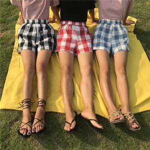 實拍  實價 夏裝新款韓版寬松百搭格子松緊腰闊腿短褲