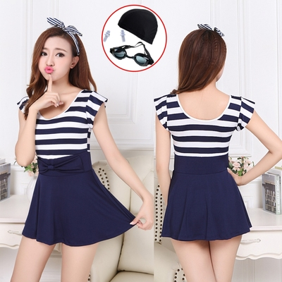Swimwear conservative student south korea small fresh h Igh waist piece skirt cover belly was cute girl swimsuit big size