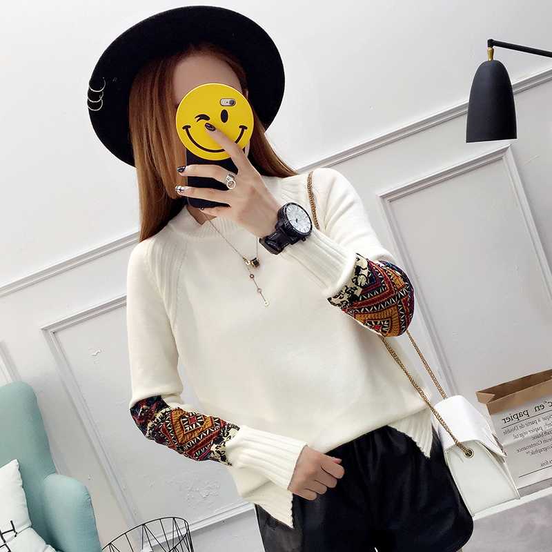 8253实拍秋冬新款2018韩版毛衣打底衫女长袖套头宽松显瘦针织衫