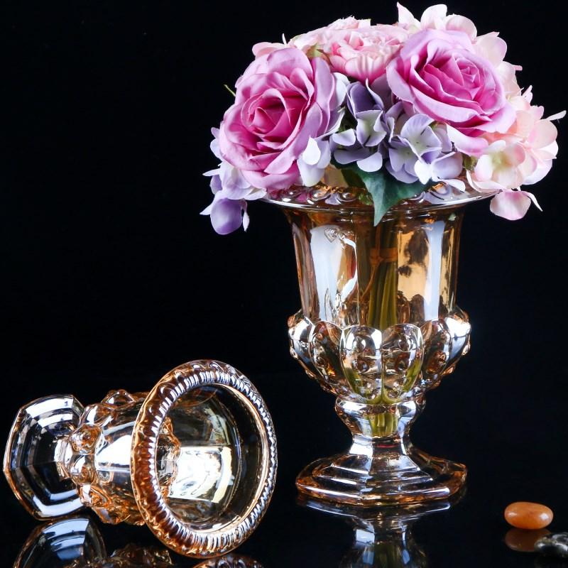 欧式高脚水晶玻璃花瓶圆形四方奢华电镀金色客厅茶几装饰摆设插花