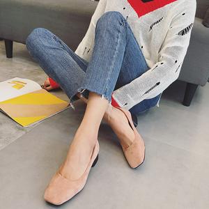 2018方頭新款粗跟淺口爆款單鞋513-1