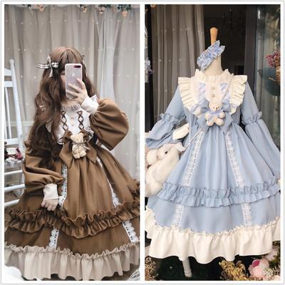 taobao agent Funny sauce studio Lolita coffee teddy bear doll strong sense of spring cute retro long-sleeved dress