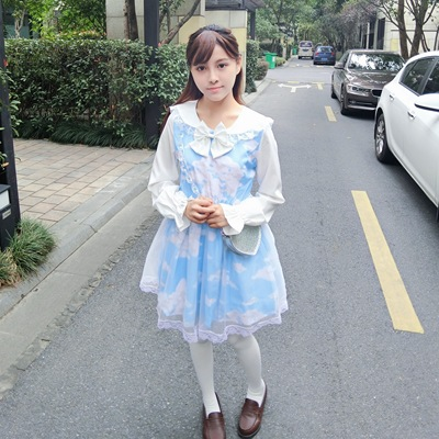 taobao agent Funny original【Blue sky and white clouds】Japanese soft girl college feng shui hand-neck lace and mesh Lolita dress