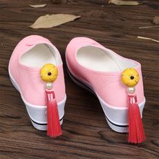 十里桃花-原创古风汉服鞋坡跟增高旗袍单鞋复古中国风布鞋女
