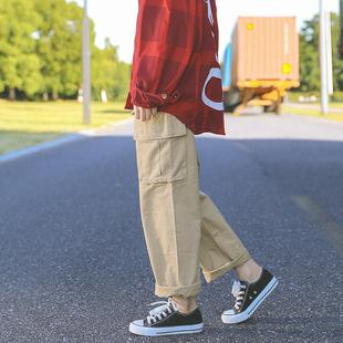 秋季日系BF风工装裤女宽松直筒休闲裤九分中性帅气大口袋阔腿长裤