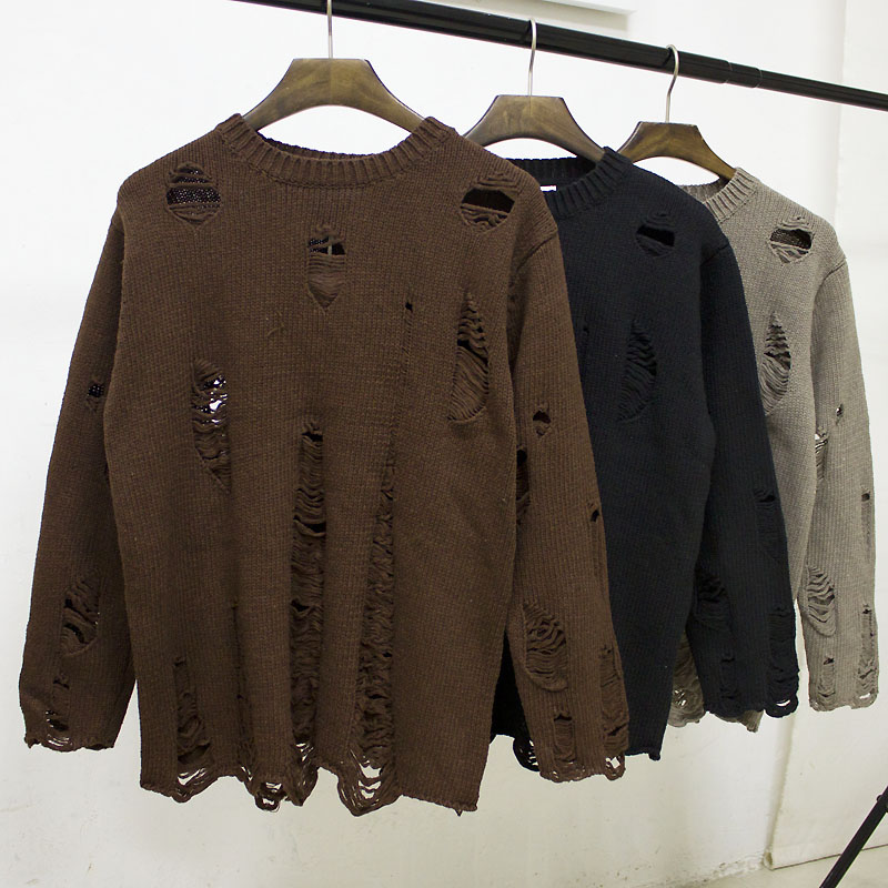 Ace nhỏ tươi mùa thu vài lỗ áo len nam giới và phụ nữ Hàn Quốc phiên bản của thủy triều vòng cổ áo thun lỏng áo len áo khoác nam