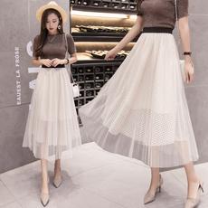 8057#(实拍)韩版中长款网纱裙时尚半身裙夏蓬蓬百褶仙女裙子