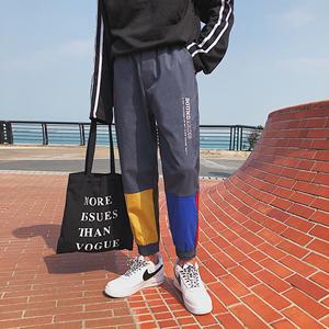 港风撞色拼接英伦嘻哈街舞运动大码长裤修身九分裤男裤子7575P55