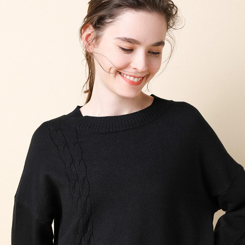 高领毛衣女秋冬加厚修身园领打底套头毛衣女针织衫长袖大码宽松