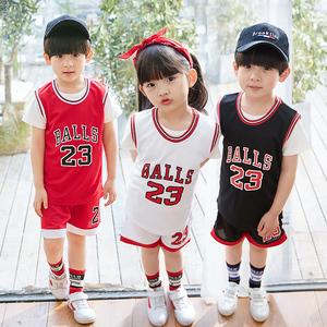 儿童篮球服套装男童女童宝宝蓝球衣定制中小学生男孩幼儿园表演服