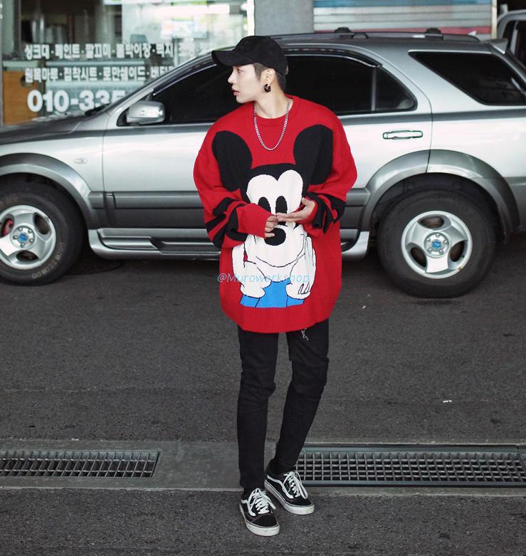 Muro A W17 thích hợp hàng ngày thiết kế vài mô hình disney redred Mickey áo len lớn
