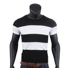 9811# 速卖通货源 男士休闲纯棉POLO衫 短袖修身条纹拼色T恤衫男
