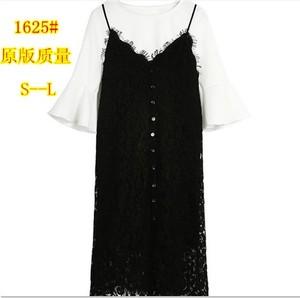 春装韩版喇叭袖打底衫上衣中长款蕾丝吊带连衣裙两件套女套装裙潮