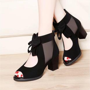 高帮凉鞋女粗跟罗马鞋网纱女鞋高跟鞋女凉鞋