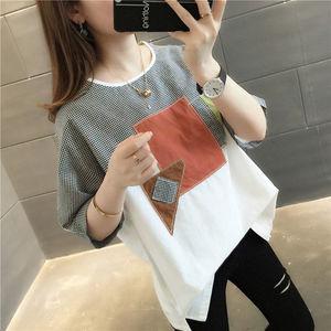 2020新款短袖t恤女宽松韩版休闲棉质半袖印花格子拼接圆领上衣潮