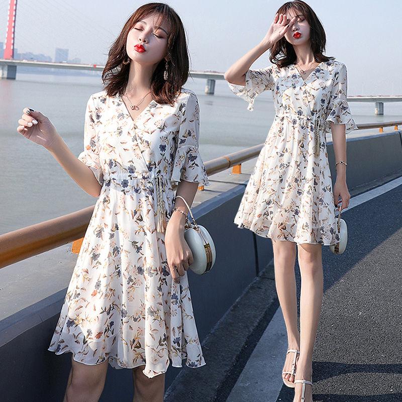 新款韩版小清新雪纺碎花连衣裙女