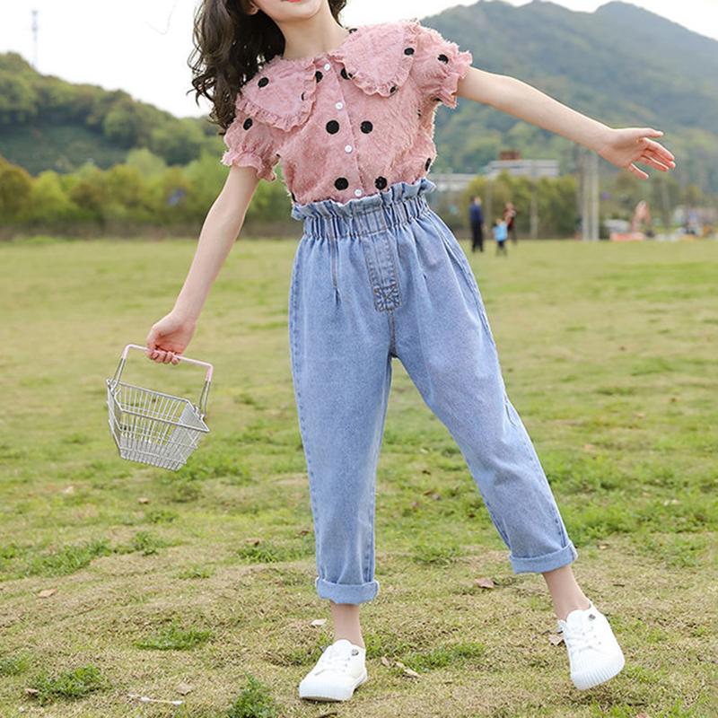 夏网红洋气时髦中大女童牛仔九分裤两件套