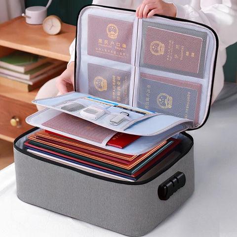 家用加厚证件收纳包家庭大容量文件护照储物盒布艺多功能整理箱子