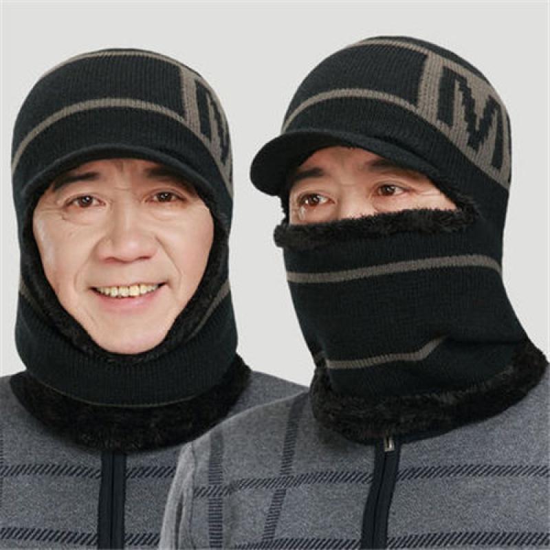 加绒毛线帽中老年人帽子爸爸妈妈男女冬季毛线针织帽骑�车帽套头帽