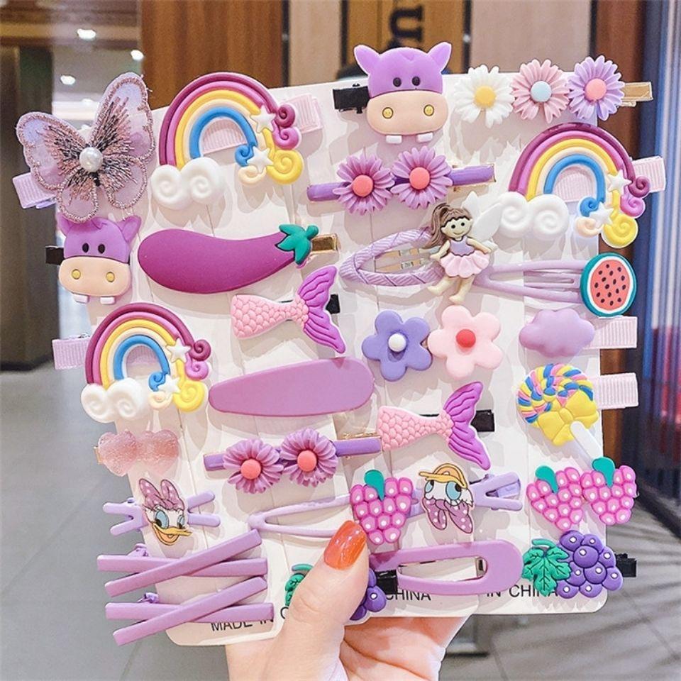 新款宝宝公主糖果色发饰14件套可爱花朵