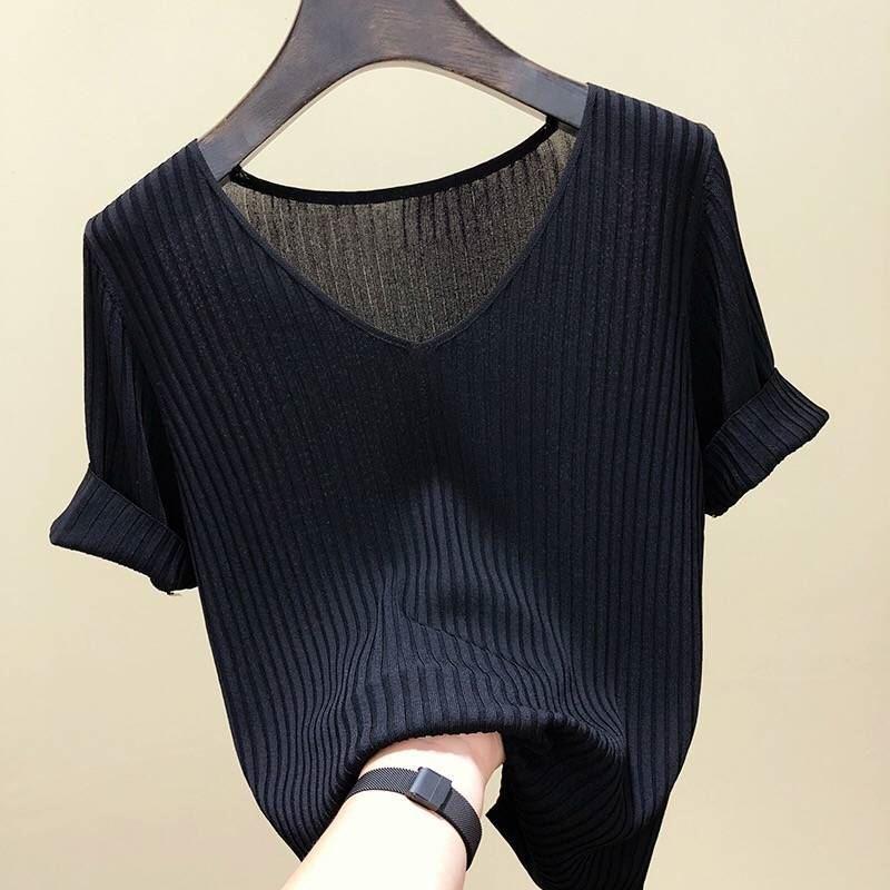 冰丝2021春夏新款针织衫女装韩版修身打底纯色V领短袖t恤女上衣潮
