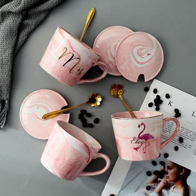 欧式简约创意个性陶瓷咖啡杯带盖勺男女生办公室家用喝水马克杯子
