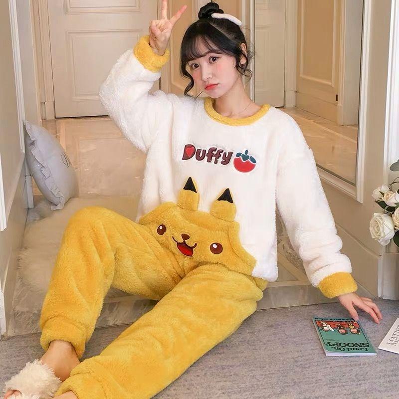 睡衣女冬珊瑚绒加厚甜美可爱法兰绒保暖学生韩版秋冬季家居服套装