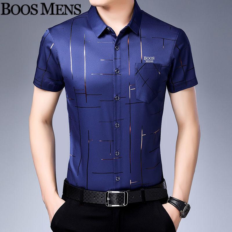 新款短袖衬衫男夏季薄款中青年男士休闲商务