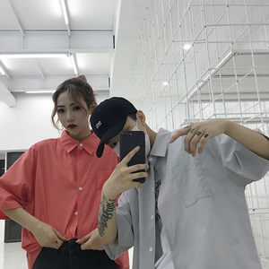 005#(亚博娱乐平台入口三标齐全)韩国ins同款工装口袋半袖衬衫情侣款