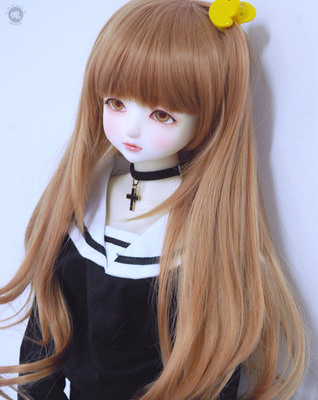 taobao agent Lazy baby BJD doll wig uncle three points one knife bangs girl high temperature silk long hair casual clothes post easy to lure fake hair