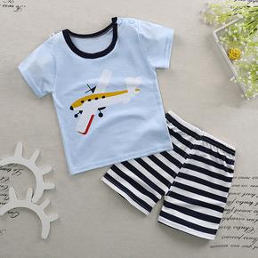 夏季儿童薄款纯棉短袖T恤两件套装