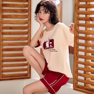 睡衣女夏季薄款纯棉短袖短裤全棉两件套装