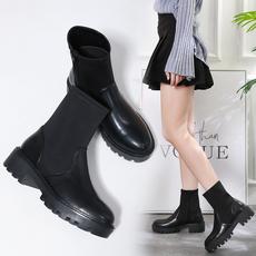 2019新款时尚百搭弹力布袜靴防水台粗跟女靴188