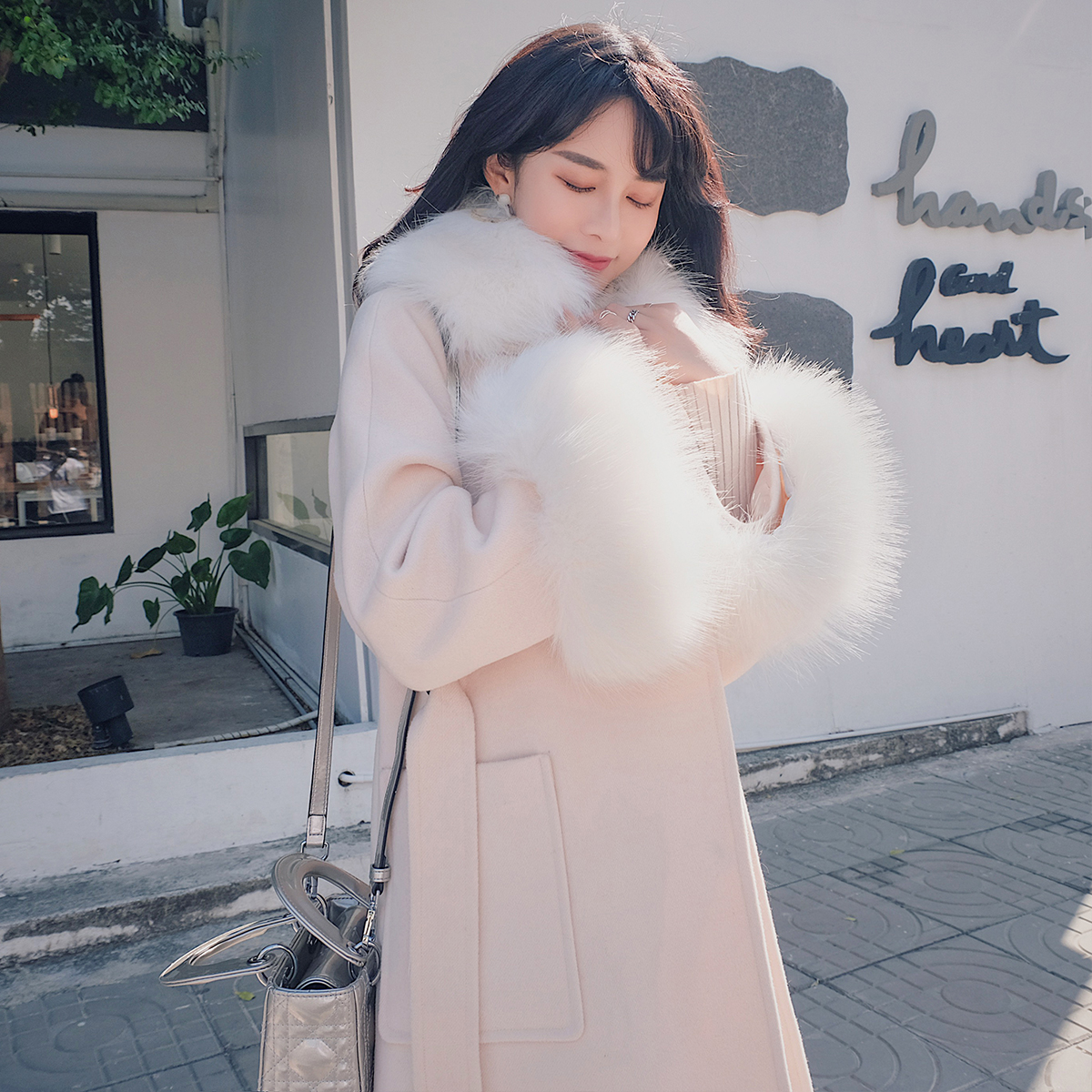 Thắt lưng ca cao Chanel, áo len, nữ dày mùa đông, phần dài, thời trang Hàn Quốc, áo len mỏng, sang trọng, nữ