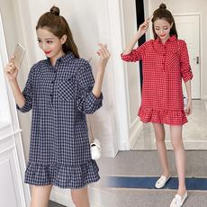 2018年新款韩版翻领长袖衬衣裙子女装中长款宽松格子衬衫连衣裙
