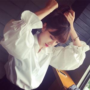 Mùa xuân mới Hàn Quốc phiên bản của bong bóng lỏng đèn lồng tay áo áo sơ mi trắng thời trang tính khí kích thước lớn dài tay áo sơ mi phụ nữ