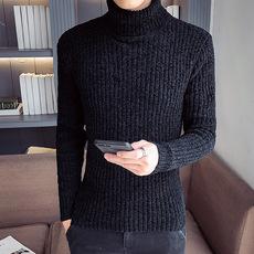 2019高领毛衣男秋冬季翻领针织衫纯色修身长袖打底衫