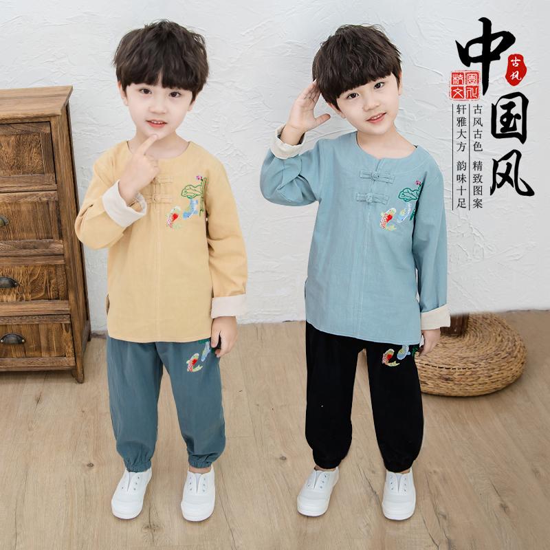 Chàng trai Hanfu phù hợp với phong cách Trung Quốc mùa thu Trung Quốc phong cách quần áo retro quần áo trẻ em cải tiến trang phục trẻ em - Trang phục dân tộc