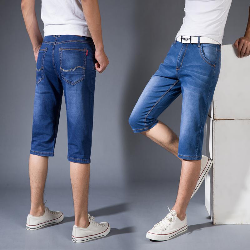 Mùa hè thích hợp quần jean nam thẳng mỏng người đàn ông trung niên khỏa thân quần short 6 căng cha 7-quần