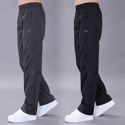 Mùa xuân và mùa hè phần mỏng đơn lớp thể thao quần nam quần tây giản dị polyester trượt bề mặt mặc chạy quần lỏng thẳng quần