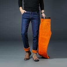 S实拍冬季加绒牛仔裤男直筒中腰商务休闲加厚男裤大码长裤3081