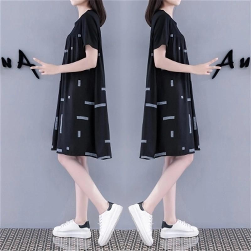 2018 mùa hè mới Châu Âu đứng búp bê váy lỏng thường kích thước lớn là mỏng một từ bông và vải lanh khâu ăn mặc