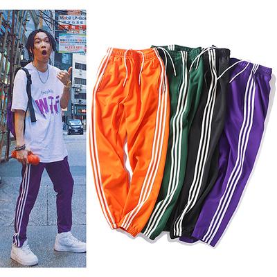 Harajuku phong cách đàn ông và phụ nữ quần thể thao tt với cùng một đoạn cam hip hop quần lỏng lẻo ba, retro ins siêu quần cháy