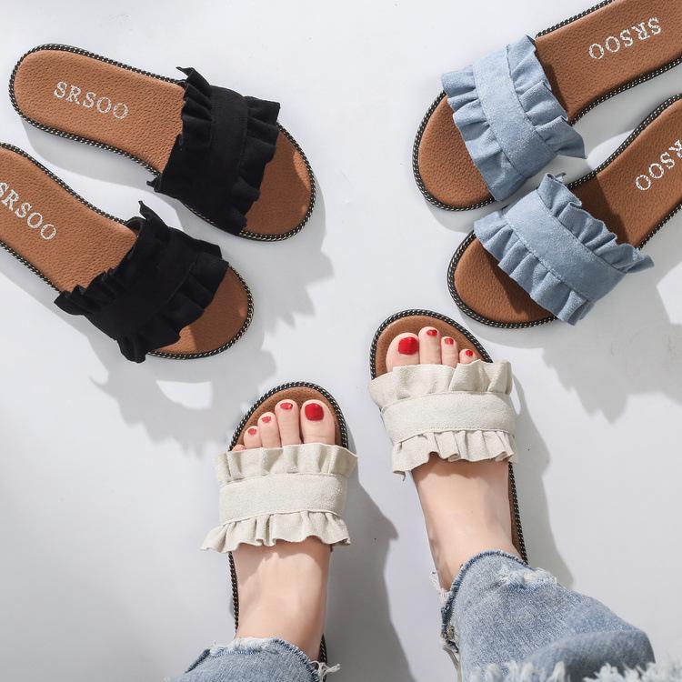 新款木耳花边设计一字拖鞋质平跟女鞋