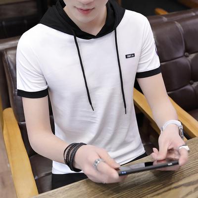 2018 mới ngắn tay áo len nam áo với một chiếc mũ Hàn Quốc phiên bản của xu hướng của sinh viên thanh niên đẹp trai nửa tay áo Áo len