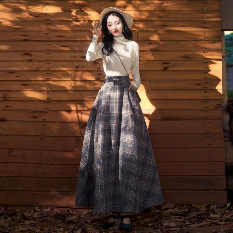 小清新学生少女针织毛衣女+毛呢半身长裙时尚套装裙两件套春秋季