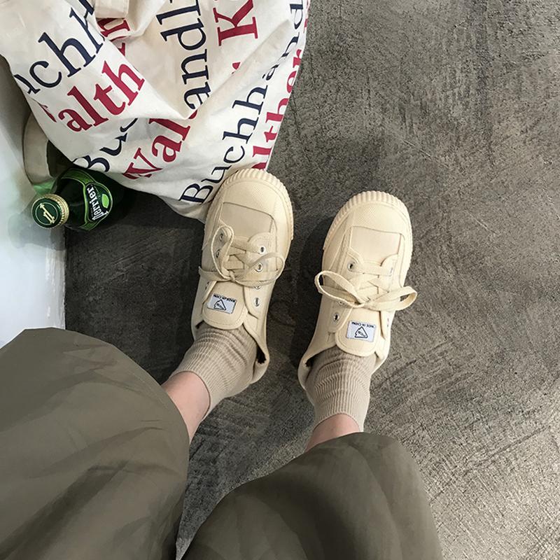 2018 new canvas giày nữ sinh viên hoang dã Hàn Quốc phiên bản của phong cách Harajuku ulzzang retro cổng gió chic board giày
