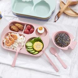 小麦秸秆儿童餐盘分格餐盒学生早餐碟家用宝宝盘子分隔餐具5件套