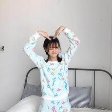 实拍9001#加厚长袖秋冬新款2017韩版可爱学生法兰绒家居套装睡衣